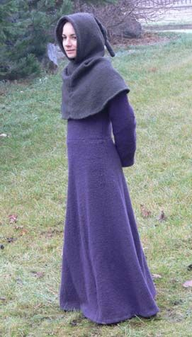 Woolen cotte - This costume belongs to 14th century. Dress is made of wool by the pattern for typical cotte. Hood is also made of wool, entirely handmade based on Herjolfsnes No.66 pattern.