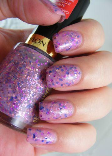 Revlon Nail Polish Color Girly Pastel Light Pink Purple Hex Glitter Topcoat 260   $4 obo