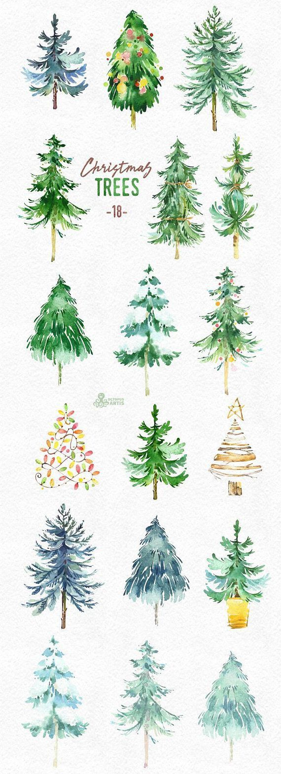 This set of 18 high quality hand painted watercolor Christmas trees.  #watercolor