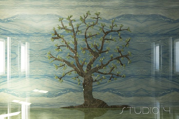 Marble 3D inlaid Wall Summer Tree