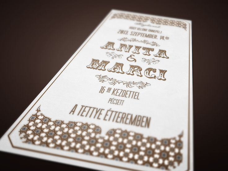Vintage stílusú esküvői meghívó   Vintage letterpress wedding invitation