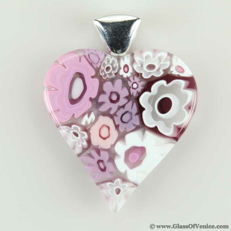 72 best murano millefiori images on pinterest dish dishes and plate modern millefiori heart pendant tender pink mozeypictures Images