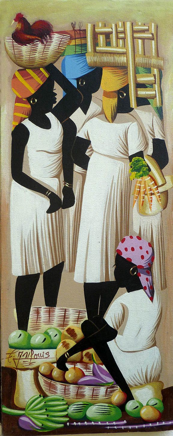 "Haitian Art Canvas Painting - Haitian Market Women - Art of Haiti - Ethnic Art-  Primative Caribbean Art, Haitian Art - 12"" x 30"" - 267 by TropicAccents on Etsy"