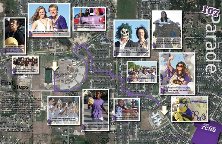 Yearbook homecoming parade spread shows the parade route as the background.  Timber Creek HS, Fort Worth, Texas.Yearbooks Stuff, Creek, Yearbooks Ideas, 2013 Yearbooks, Yearbooks 2013 2014, Forts Worth, Christmas Parade, Homecoming Yearbook Spreads, Yearbooks Homecoming