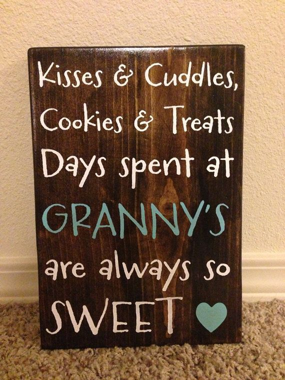 Mother/Grandmother Sign Kisses & Cuddles by aubreyheath on Etsy