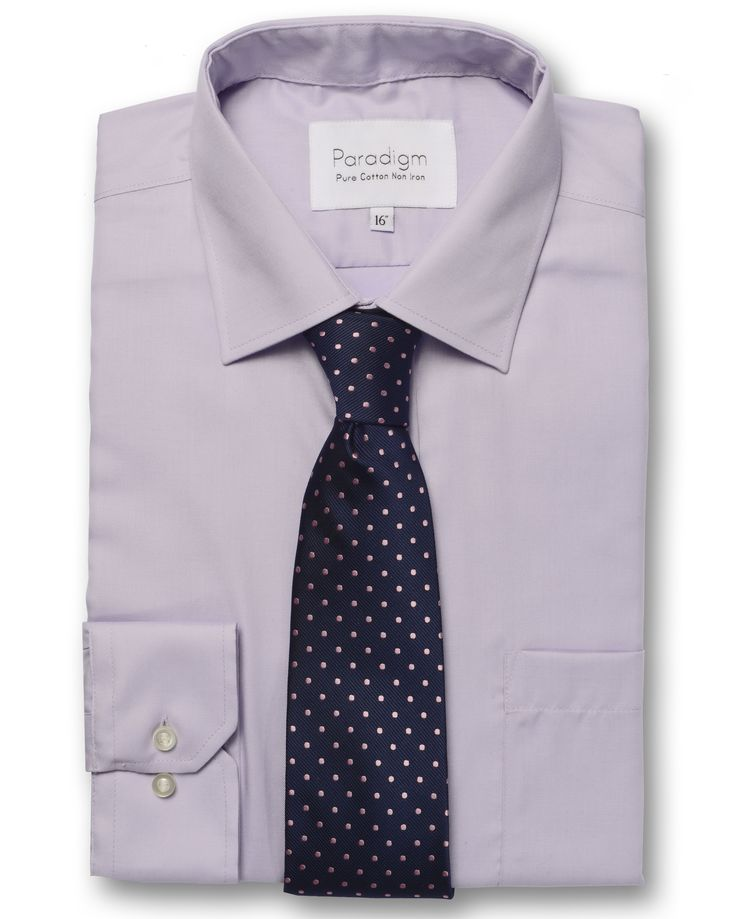 Paradigm by Double TWO a 100% Cotton, Non-Iron, Wrinkle Free, Men's Shirt #Lilac #Menswear #FormalShirts