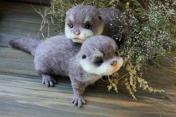 Felted baby otters!