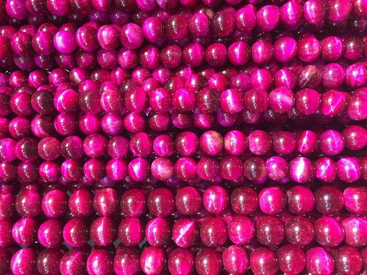 fushcia tiger eye stone beads - tiger eye beads wholesale - tiger eye stone beads - tiger eye prayer beads - eye beads and gemstones -15inch