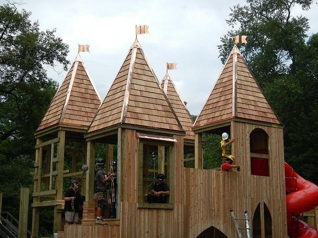 Jamie Bell Adventure Playground Castle Build High Park Toronto Ontario Canada Saturday July