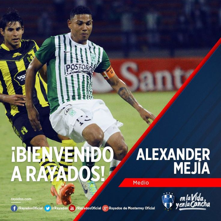 ¡Bienvenido Alexander Mejía al Club de Futbol Monterrey! #FamiliaRayada #EnLaVidayEnLaCancha.
