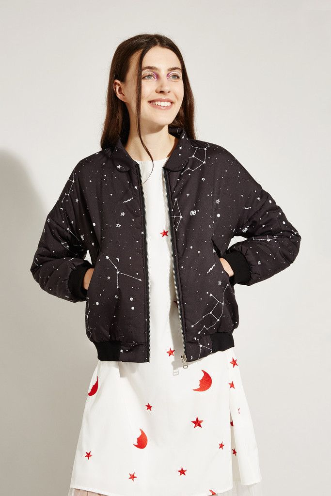 Bomber Jacket Constellation Print - THE WHITEPEPPER http://www.thewhitepepper.com/collections/winter-drop-1/products/bomber-jacket-constellation-print