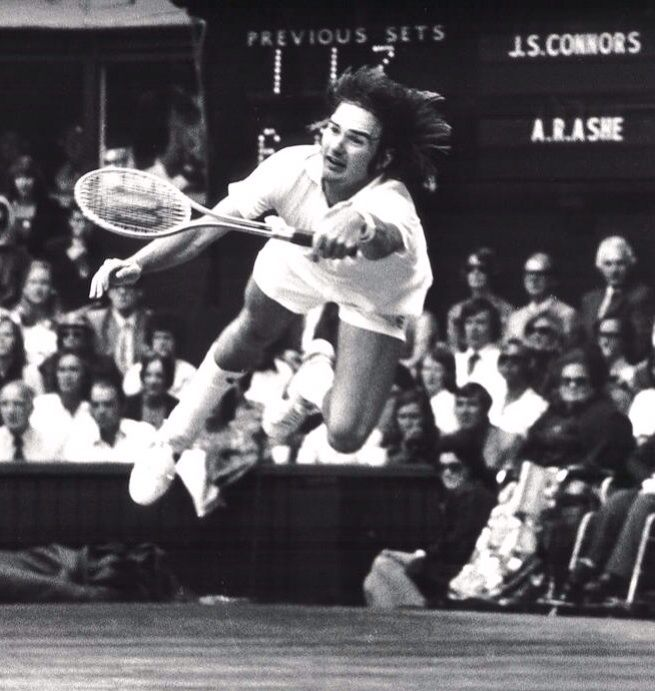 """""""I hate to lose more than I love to win.""""-  Jimmy Connors  Jimmy Connors dives to return the ball to Arthur Ashe in the final set of the 1975 Wimbledon Men's Tennis Final in London, July 5, 1975.  #manoftheworld #wimbledon #jimmyconnors #tennis #icon #tennisplayer #passion #icons #tennisclub #london #londoncalling #arthurashe #wimbledonmen #wimbledon2014 #sport #tennis #menshealth #greencourt #classicsport #lifeinpictures"""