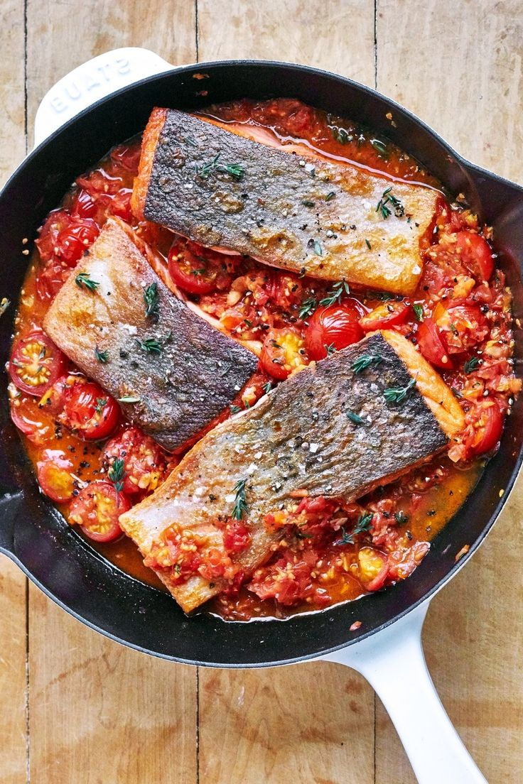 Quick and Easy Weeknight Meals: Saucy Skillet Salmon Dinner Recipe. Cooked fast and simple in a fresh cherry tomato sauce in your trusty cast iron skillet, it's punched up with garlic, balsamic, and a hint of fresh thyme so it's a little sweet and a little tangy. Served with couscous pasta, or grains.