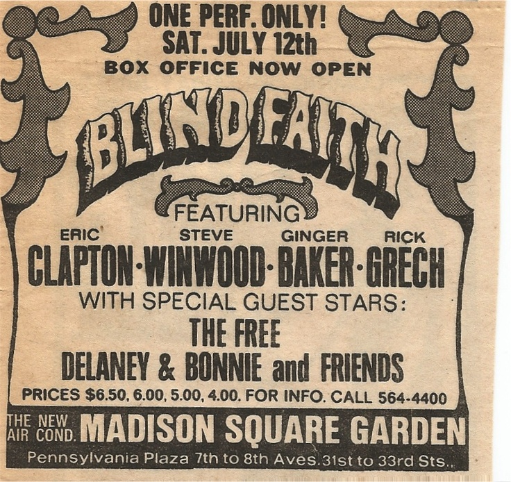 Blind Faith at Madison Square Garden 1969