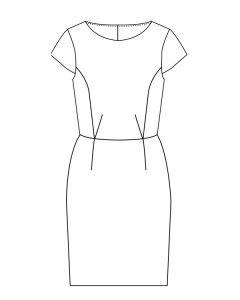 Stephanie kjole str.34-44  Stephanie str. 34-44 50' er kjole med slank silhouette. Kjolen har prinsessesømme og skørt i klassisk pencilskirt-stil. Model A: Kort ærme. Model B: Vingeærme. Model C: Uden ærmer.  Materialeforslag Modellen egner sig til faste stoffer, f.eks. bomuld, let jarquard eller let uld.  Størrelse343638404244 Model A, B & C Stofforbrug, 140 cm bred160160160160160160 Foer, 140 cm bred606060606565 Skjult lynlås606060606060  - stof2000.dk