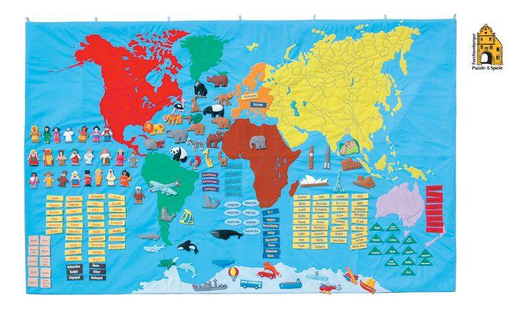 Weltkarte für Kinder aus Stoff mit Tragetasche