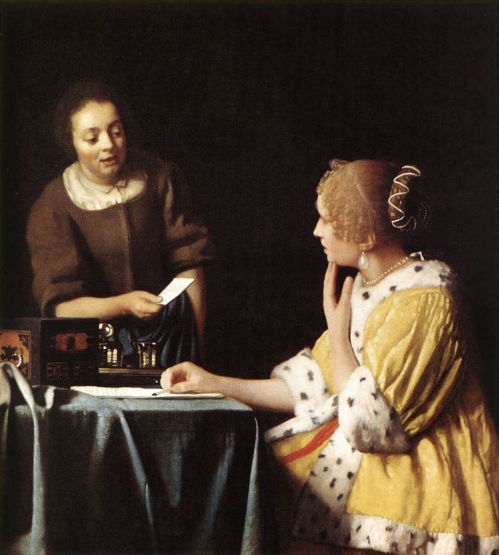 Lady with Her Maidservant Holding a Letter by Johannes Vermeer #art