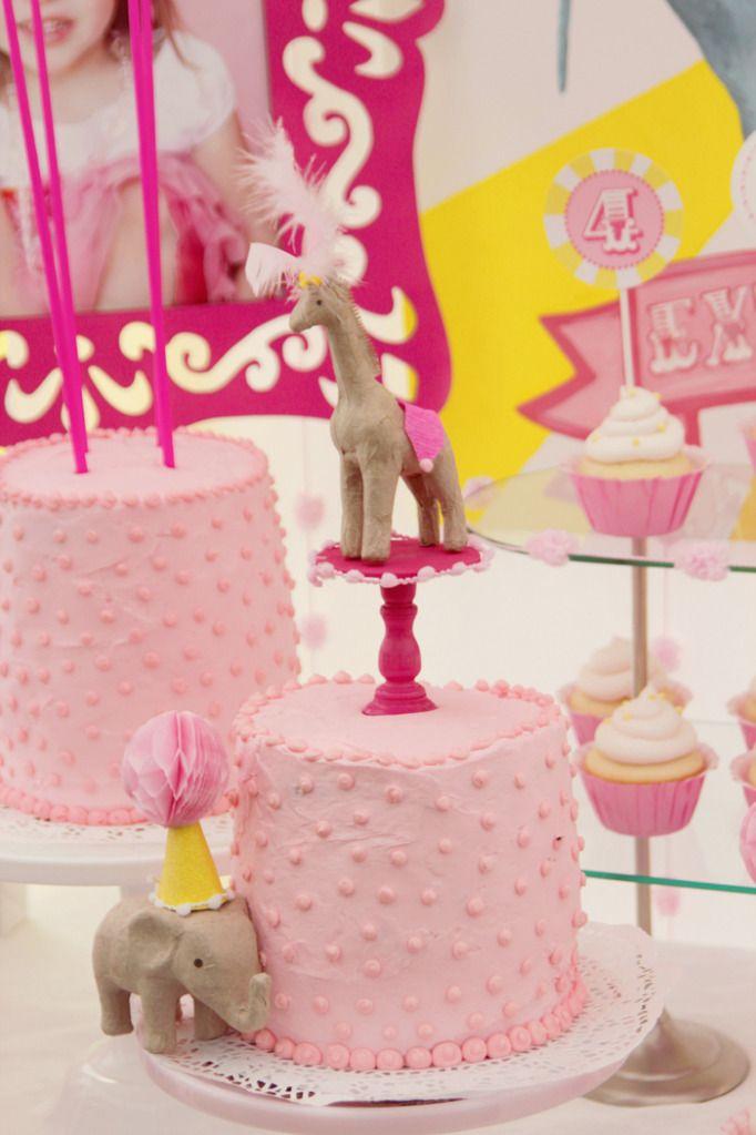 Adorable little girl birthday circus party: Giraffes Cakes, Circus Cakes, Pink Cakes, Birthday Parties, Circus Birthday, 1St Birthday, Parties Ideas, Circus Parties, Birthday Cakes