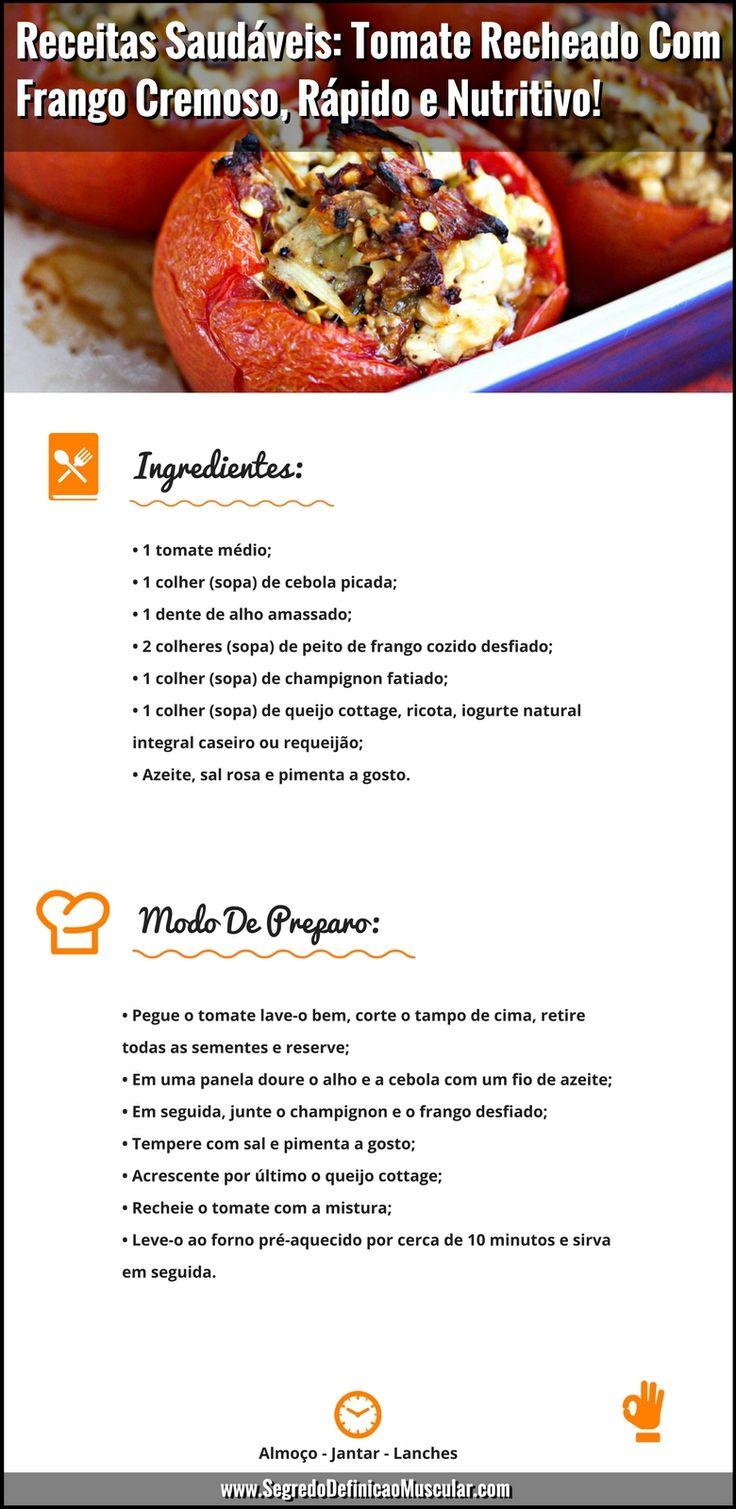 Receitas Saudáveis Tomate Recheado Com Frango Cremoso  ➡ https://segredodefinicaomuscular.com/receitas-saudaveis-tomate-recheado-com-frango-cremoso-rapido-e-nutritivo/ Se gostar da receita compartilhe com seus amigos :) #receitasfit #receitas #recipes #fit #receitafit #alimentaçãosaudável #EstiloDeVidaFitness #ComoDefinirCorpo #SegredoDefiniçãoMuscular