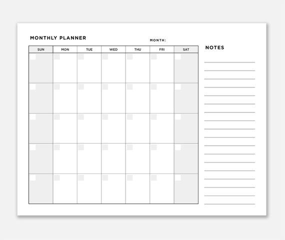 Planner Monthly Monthly Organizer Printable Monthly