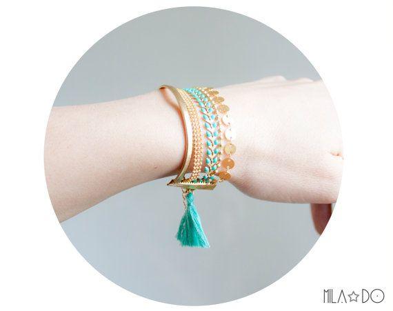 Boho cuff bracelet gold and turquoise tassel #jewelry #bracelet #cuff #turquoise #gold #summer