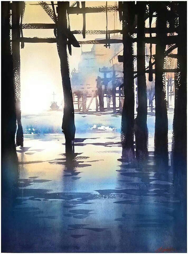 Watercolor landscape pier boats harbor beach Thomas Schaller