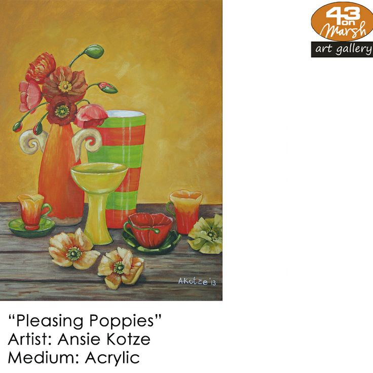 """Pleasing Poppies""  Acrylic on canvas by Ansie Kotze Contact 43 on Marsh #ArtGallery should you be interested in a work: 083 390 8000 #art #artist, #painting"