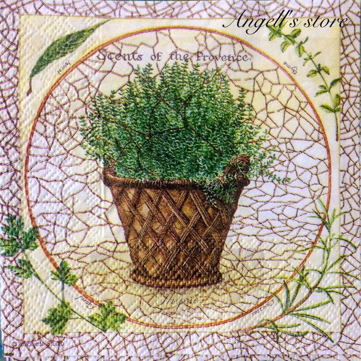 Купить Салфетка для декупажа -Травы Прованса - салфетка, салфетки декупажные, Декупаж, декупажные материалы