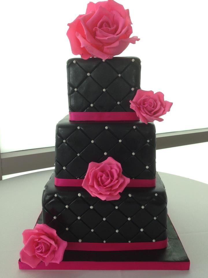 wedding cupcakes black and hot pink | Three tier square pillowed black fondant with hot pink fondant roses ...