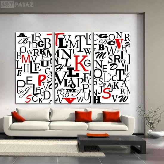 tryptyk czerwone litery