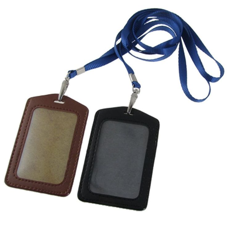 Amico Faux Leather Business ID Badge Card Vertical Holders Black Brown 2 Pcs new #Unbranded