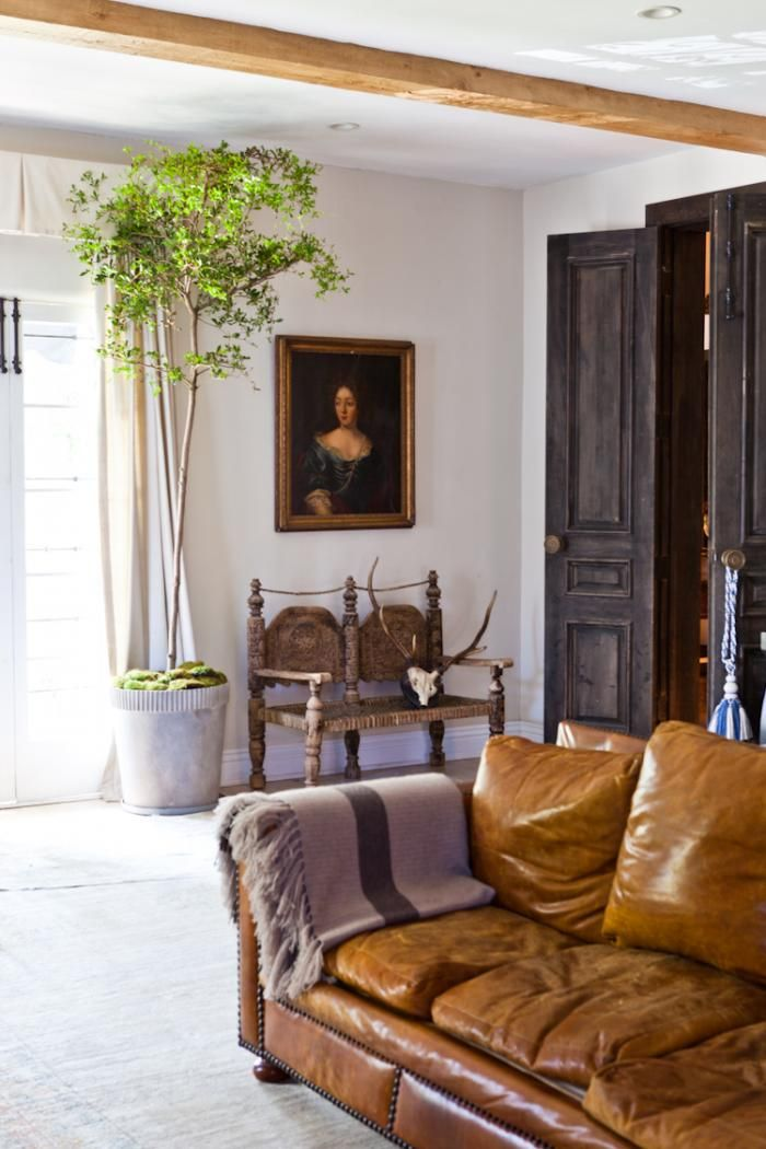 LA Woman: At Home with Hollywood's Style Guru : RemodelistaDark Interiors, Design Bedroom, Leather Couch, Leather Sofas, Rustic Doors, Interiors Design, Living Room, White Wall, Interiors Ideas