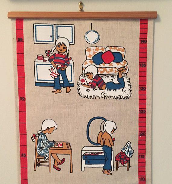 kids growth chart Sassi Scandinavian linen cotton wall art