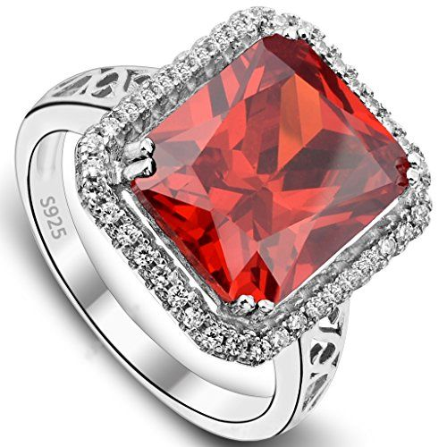 EVER FAITH 925 Sterling Silver 5 Carats Radiant Cut CZ Party Ring Red Ruby Color - Size 6. [!]EVER FAITH is a US registered trademark and Ever Faith Jewelry(former name: Kiss Bling) is its only owner. We will pursue legal action against trademark infringement in case of UNAUTHORIZED sale or resale. We have SGS Professional Certification for our Sterling Silver Items. Customers could go to a professional agency for testing them. 925 Sterling Silver is also suitable for sensitive skin to wear…