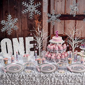 Celebrate your daughter's first birthday with our Pink Winter ONEderland Party Supplies!