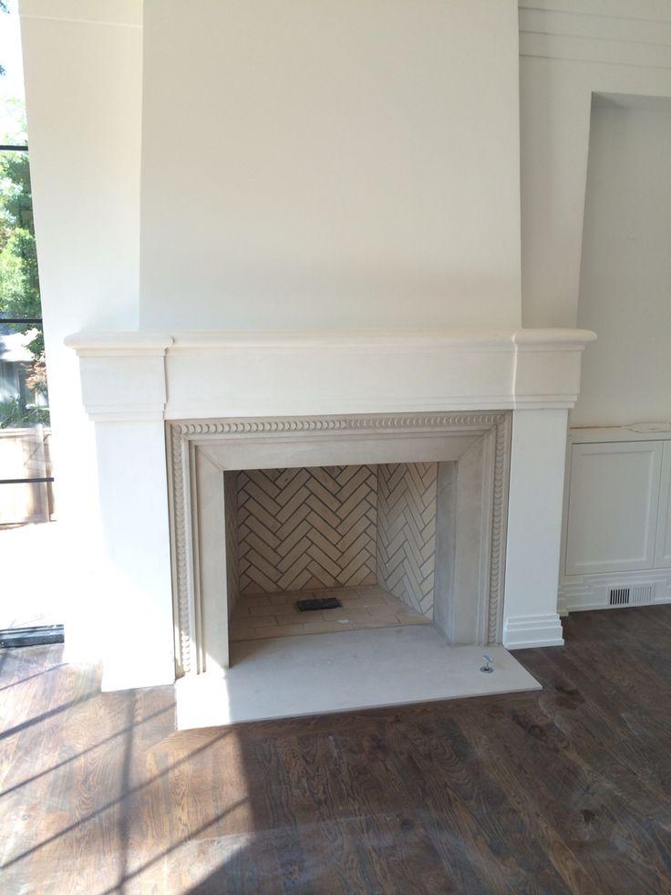Evans Cucich Hayden House Limestone fireplace.