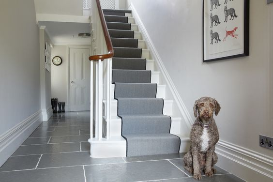 Farrow and Ball Cornforth white hallway and Strong White woodwork: Farrow and Ball Cornforth white Colour study on Modern Country Style. Click through for details..