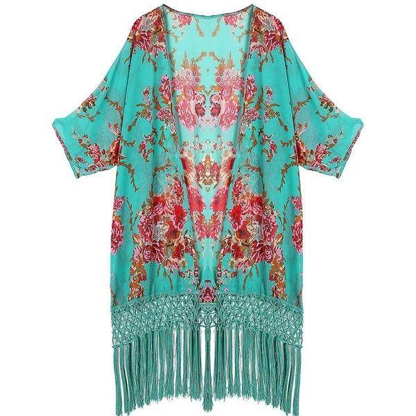 Arisingdeals Women Tassel Kimono Swimsuit Cover Up Floreal Beach Tunic... ($12) ❤ liked on Polyvore featuring swimwear, cover-ups, beach cover ups, green bathing suit, beach cover up, swimsuit cover ups and beach kimono
