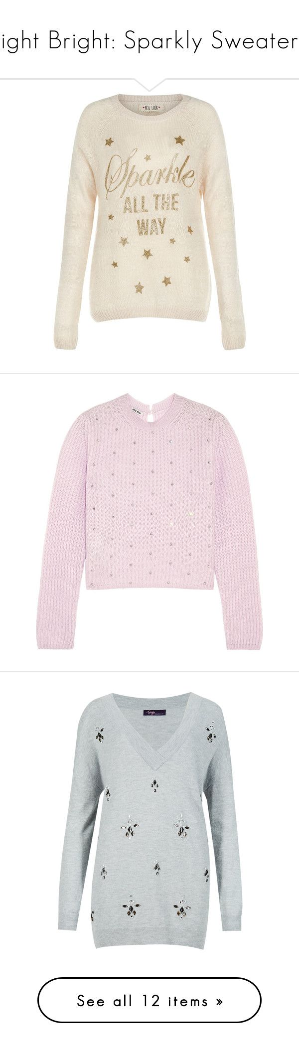 """""""Light Bright: Sparkly Sweaters"""" by polyvore-editorial ❤ liked on Polyvore featuring sparklysweaters, tops, sweaters, jumper, shirts, sparkle shirt, sparkly tops, longsleeve shirt, christmas sweater and stone top"""