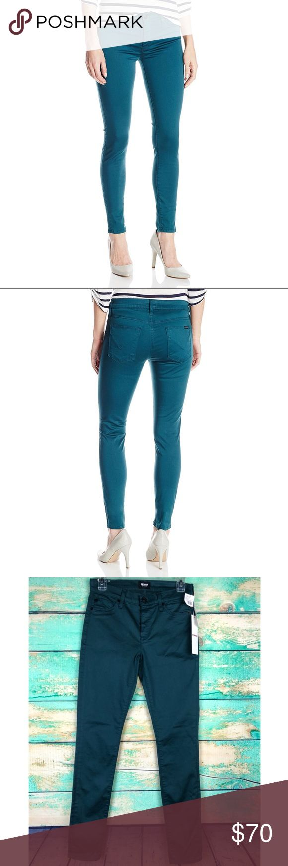 """NWT Hudson Nico Mid-Rise Stretch Skinny Jean DETAILS & CARE Skinny jeans crafted from ultra-stretchy denim are cast in a saturated teal wash accented by gunmetal hardware and a monochrome brand patch on the back pocket. 30"""" inseam; 9"""" front rise; 13.75"""" waist Zip fly with button closure. Faux front pockets; coin pocket; back pockets. 92% cotton, 4% polyester, 4% Lycra® spandex. Machine wash cold, tumble dry medium. By Hudson Jeans; made in the USA. Color: Graphite Teal.  New with tags- no…"""