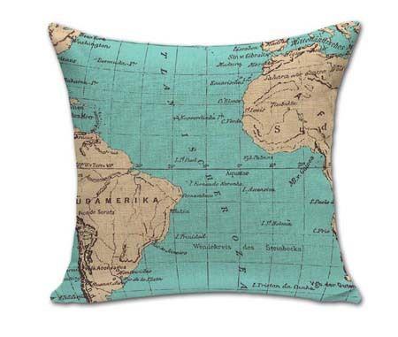 """Vintage 18 """"square mappe del mondo cuscino cotone lino cuscino divano cuscini di tiro per le vendite al dettaglio"""