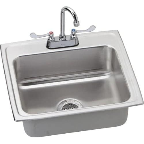 Elkay LRAD221955C 22 Single Basin Drop-In Stainless Steel (Silver) Kitchen Sink with Commercial Faucet - Includes Drain