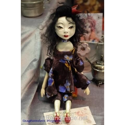 Doll Japanese Princess Kumiko. Author Olga Budishcheva - http://arthandmade.net/bydisheva.olga  Doll, souvenir doll, interior doll, handmade doll, gift, original gift, handmade, craft, collection, Gallery Magical World, кукла, сувенирная кукла, интерьерная кукла, кукла ручной работы, подарок, оригинальный подарок, ручная работа, коллекция, Галерея Волшебный мир