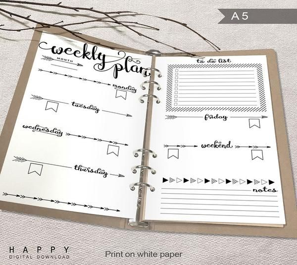 Printable Arrows A5 Weekly Planner Inserts, A5 Bullet Journal