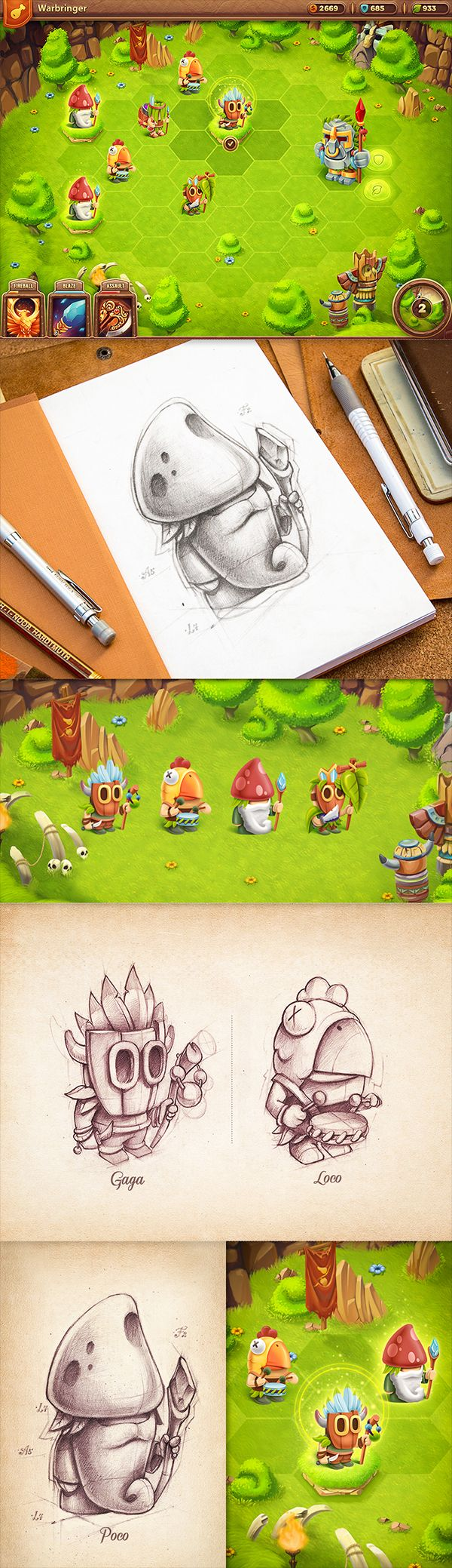iOS game prototypes  concepts by Mike, via Behance