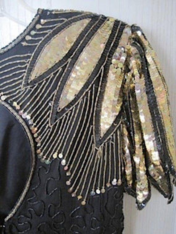 0fc502da0ecf1 Vintage Black and Gold sequin blouse