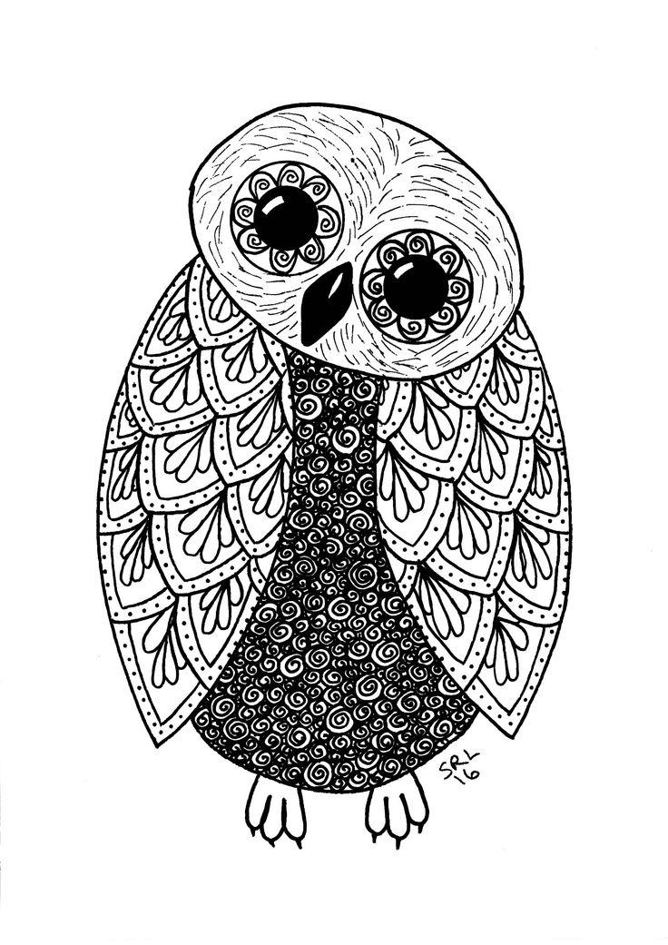 Owl Zentangle no 3. Copyright 2016 Sandy Rosenvinge Lundbye.