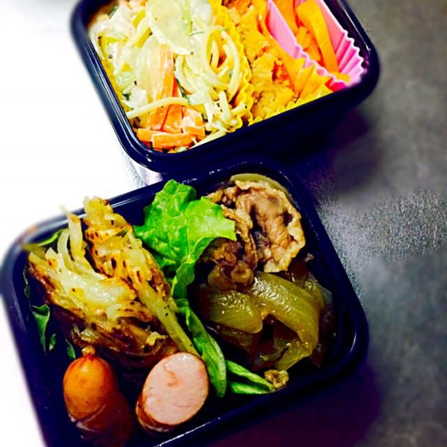 その他  ウインナー スパゲティサラダ おからの煮物 たくあん - 39件のもぐもぐ - 旦那のお弁当 じゃがいものガレット&牛丼の具 by morico3