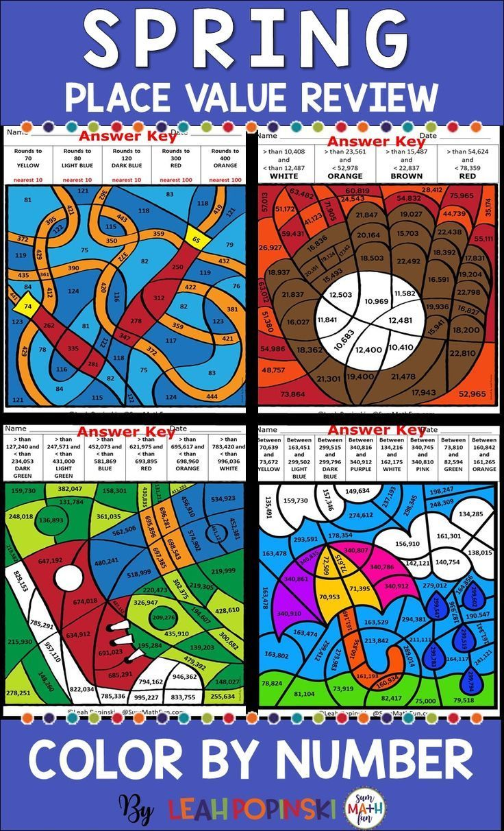 Place Value Coloring Pages For Rounding And Comparing Numbers Color By Number Sheets This No Prep Place Values Place Value Worksheets Math Graphic Organizers