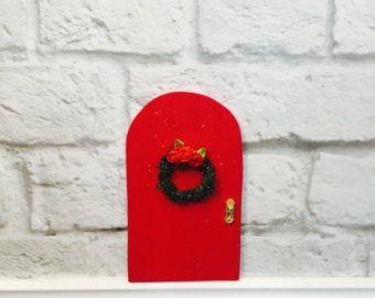 Fairy Door - Christmas Fairy Door Garden - Indoor Fairy Garden - Elf Door - Christmas Decorations - Fairy Gift - Christmas Door Kit - Wreath